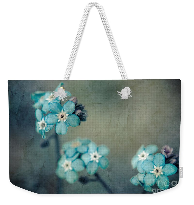 Blue Weekender Tote Bag featuring the photograph Forget Me Not 01 - S22dt06 by Variance Collections