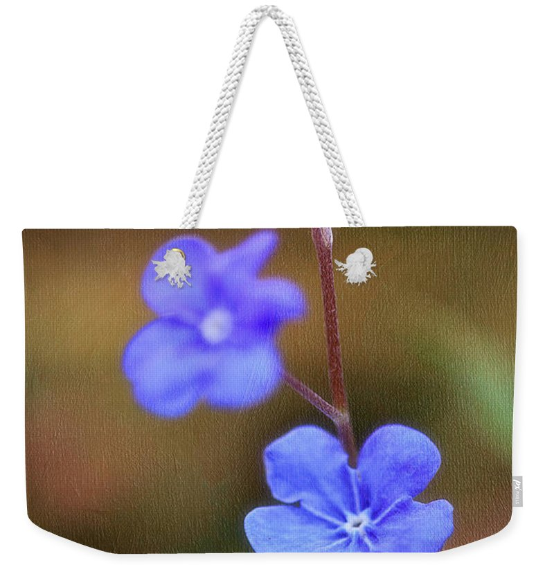 Flower Weekender Tote Bag featuring the photograph Forget Me Not by Fran Gallogly