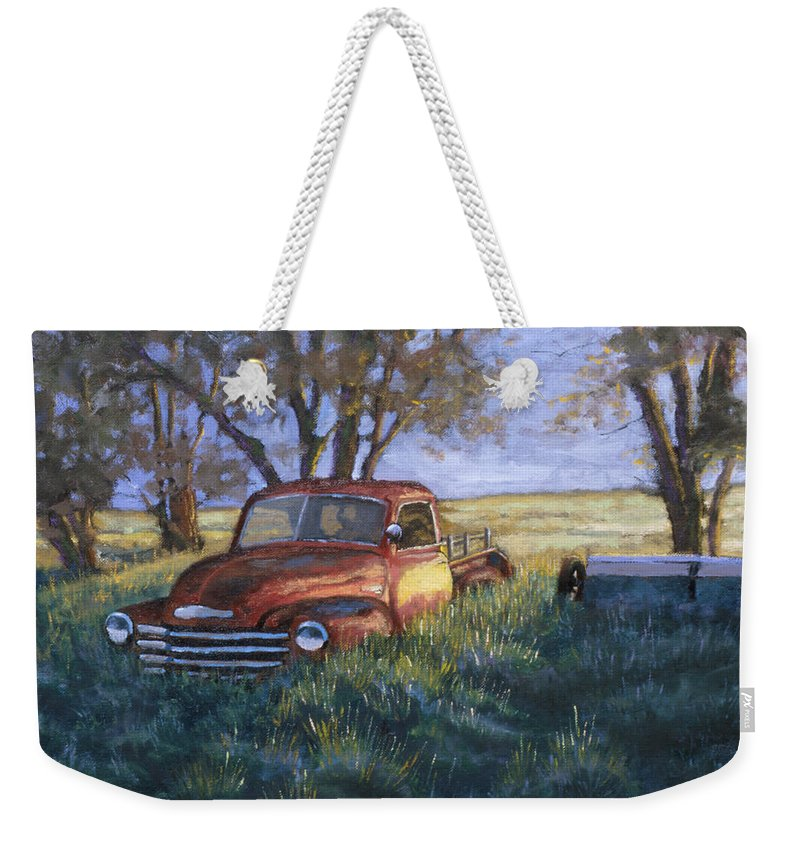 Pickup Truck Weekender Tote Bag featuring the painting Forgotten But Still Good by Jerry McElroy