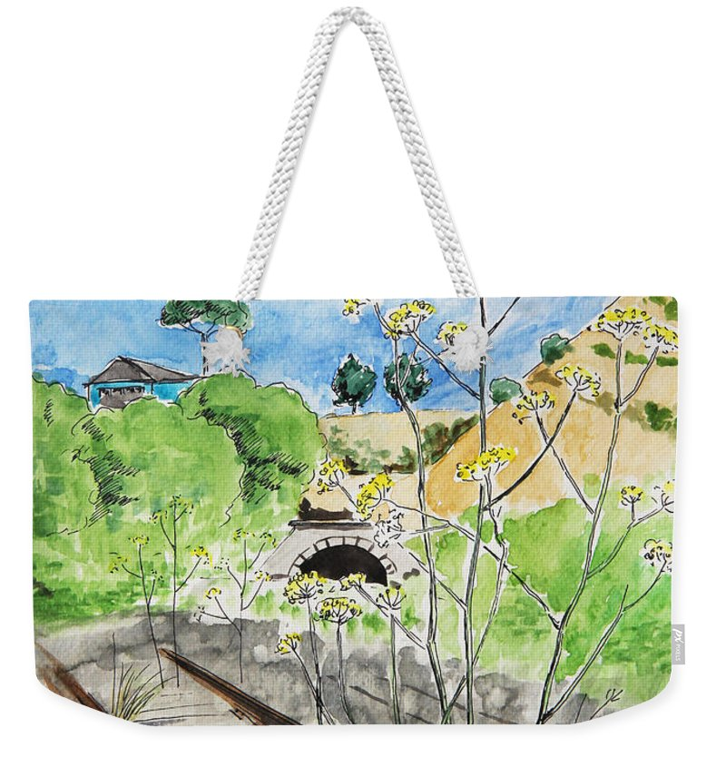 Sketch Weekender Tote Bag featuring the painting Forgotten Railway by Masha Batkova