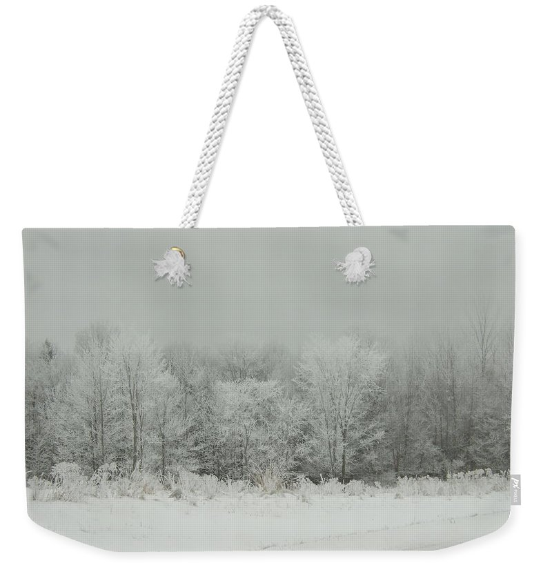 Weekender Tote Bag featuring the photograph Forrest Of Frost by Katerina Naumenko