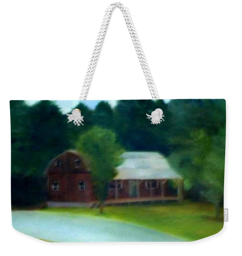 Upstate Weekender Tote Bag featuring the painting Forrest's House by Sheila Mashaw