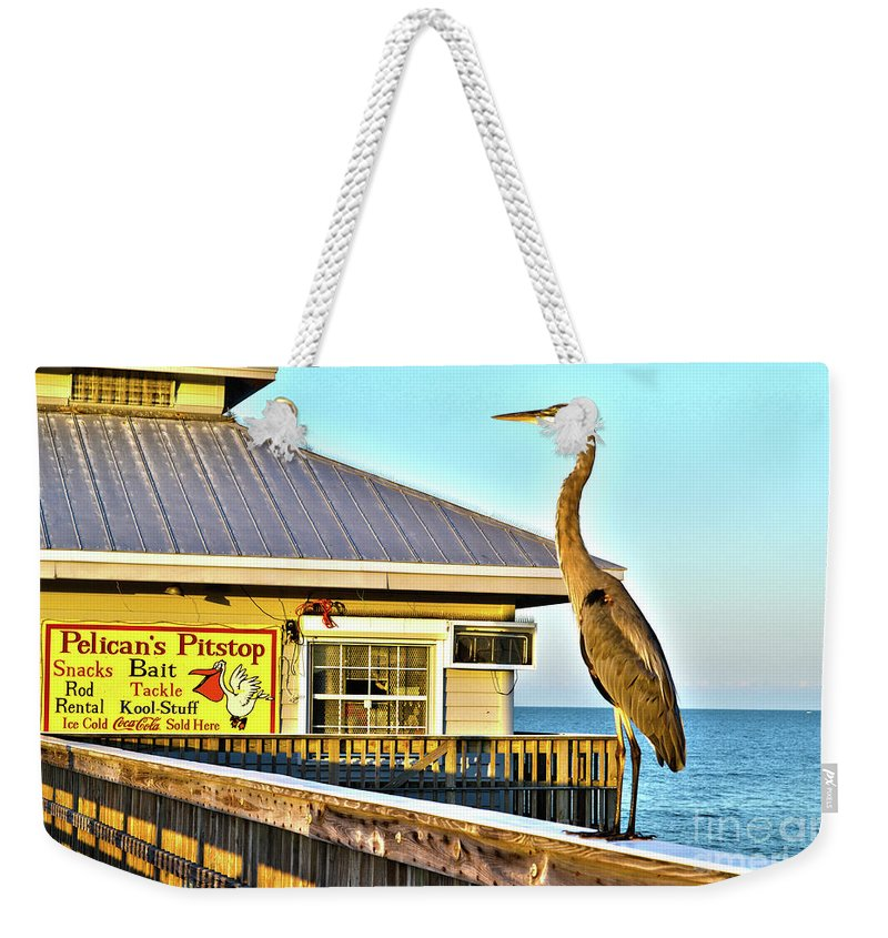 Fort Myers Beach Florida Weekender Tote Bag featuring the photograph Fort Myers Beach Bird On Pier by Timothy Lowry