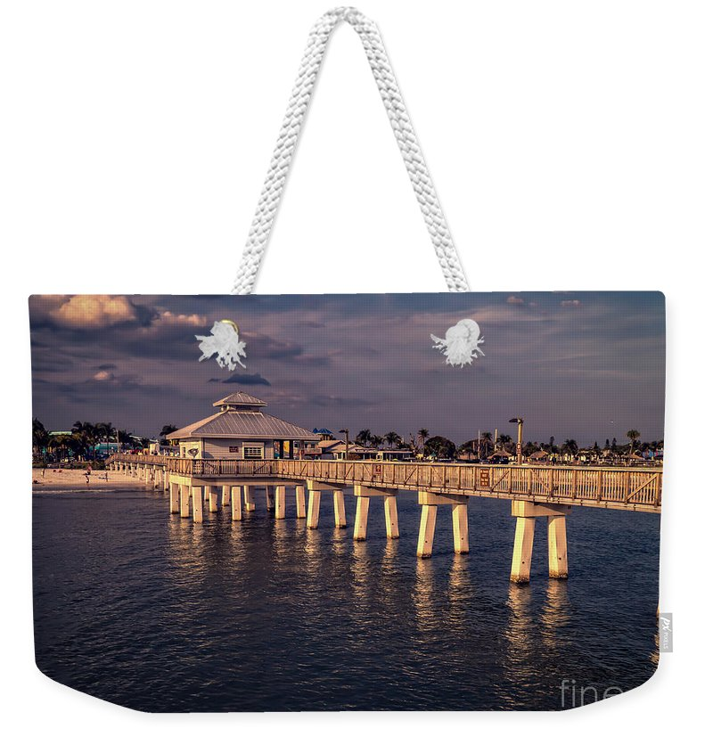 Florida Weekender Tote Bag featuring the photograph Fort Myers Beach Fishing Pier by Edward Fielding