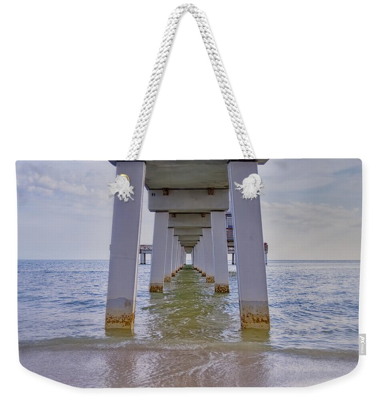 Pier Weekender Tote Bag featuring the photograph Fort Myers Beach Pier by Kim Hojnacki