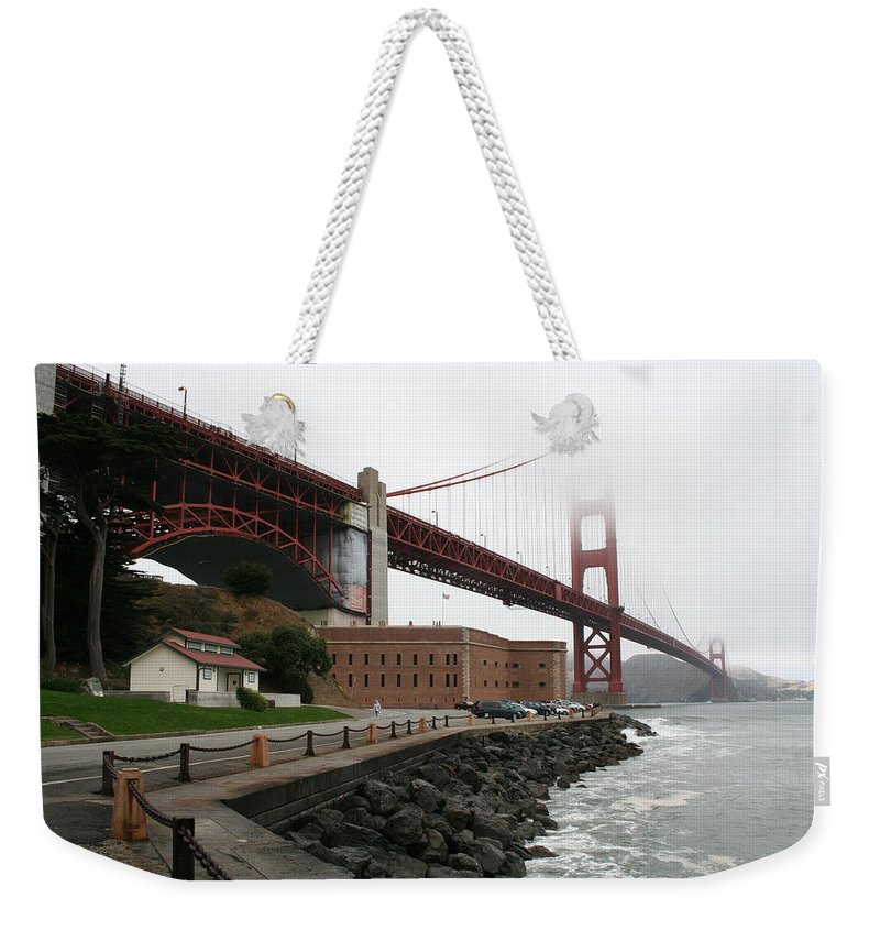 Bridge Weekender Tote Bag featuring the photograph Fort Point And Golden Gate by Christiane Schulze Art And Photography