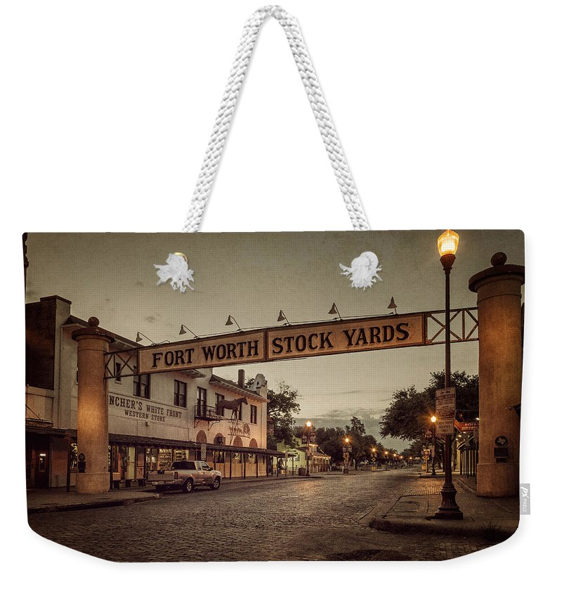 Joan Carroll Weekender Tote Bag featuring the photograph Fort Worth Stockyards by Joan Carroll