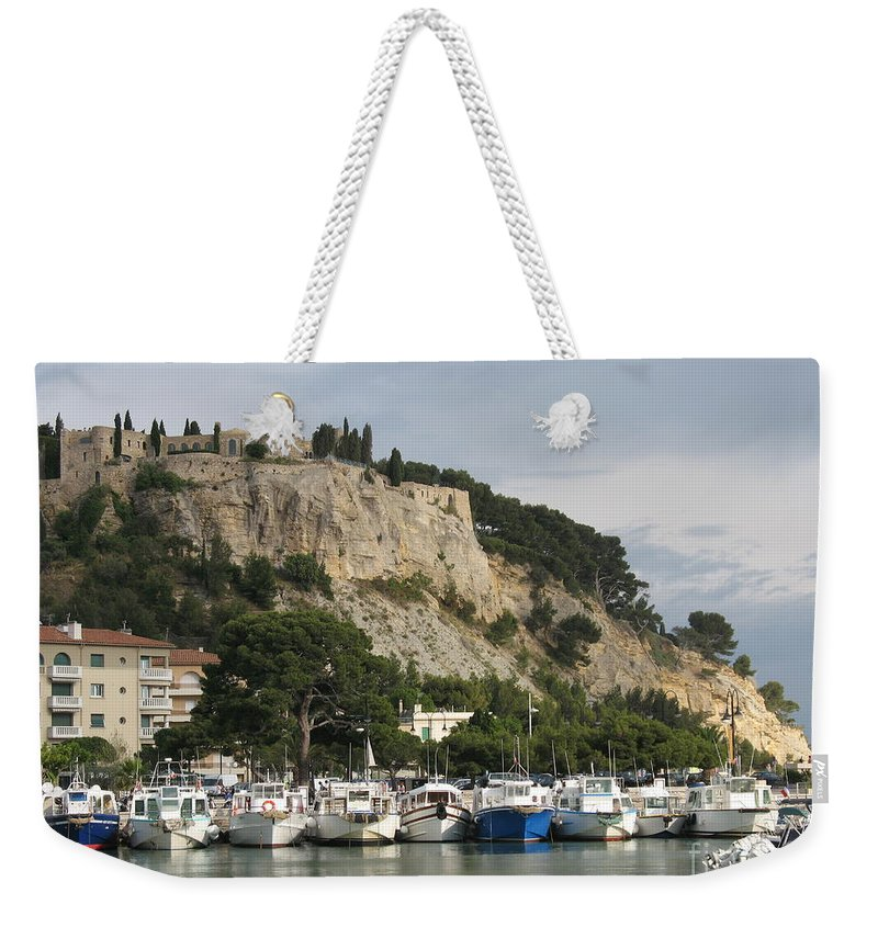 Fortress Weekender Tote Bag featuring the photograph Fortress And Harbor Cassis by Christiane Schulze Art And Photography