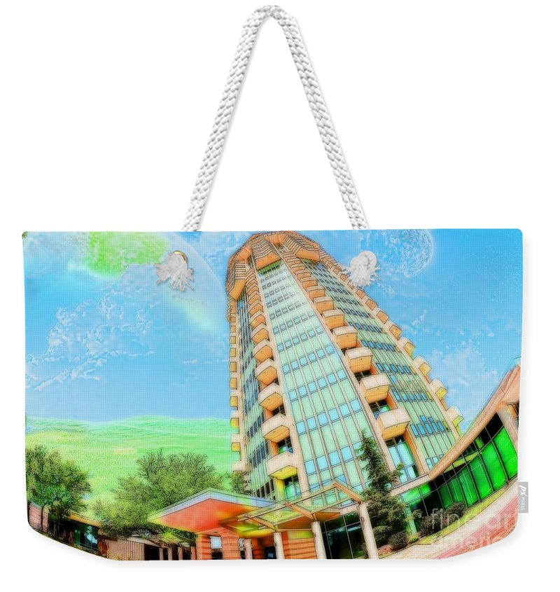Liane Wright Weekender Tote Bag featuring the photograph Founder's Tower In Oklahoma City by Liane Wright