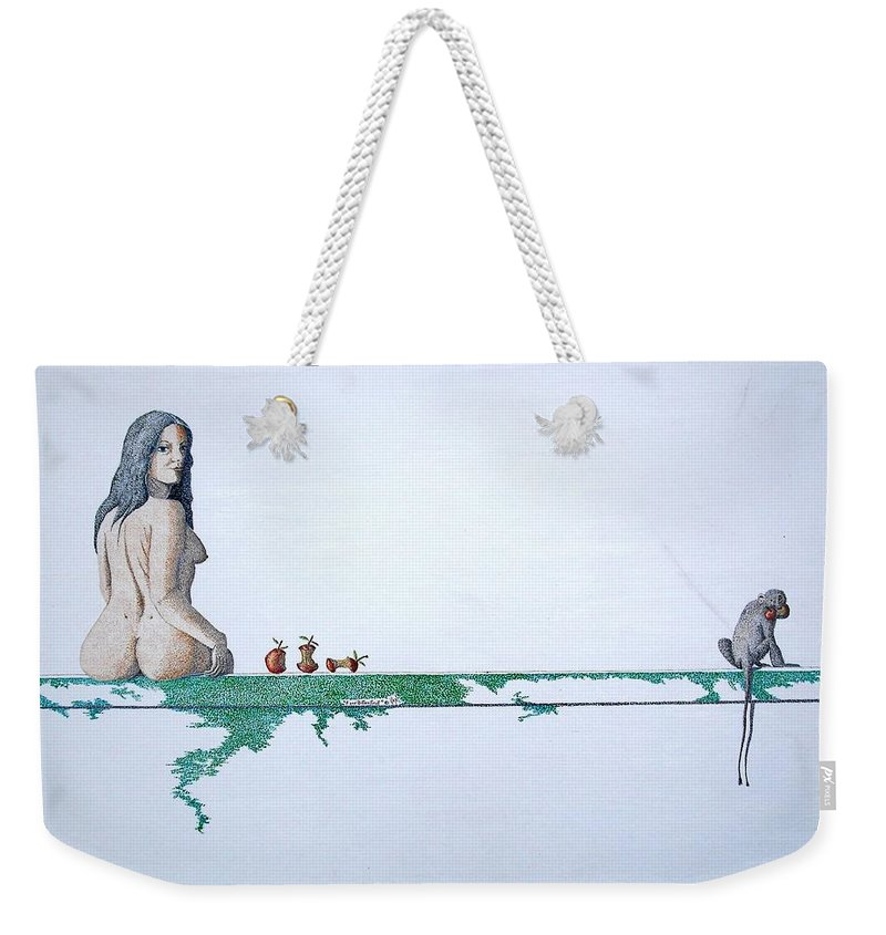 Female Figure Weekender Tote Bag featuring the painting Four Bitten Fruit by A Robert Malcom
