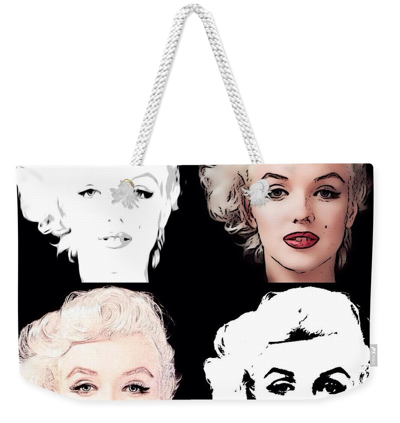 American Weekender Tote Bag featuring the mixed media Four Marilyn Monroe by Lisa Piper