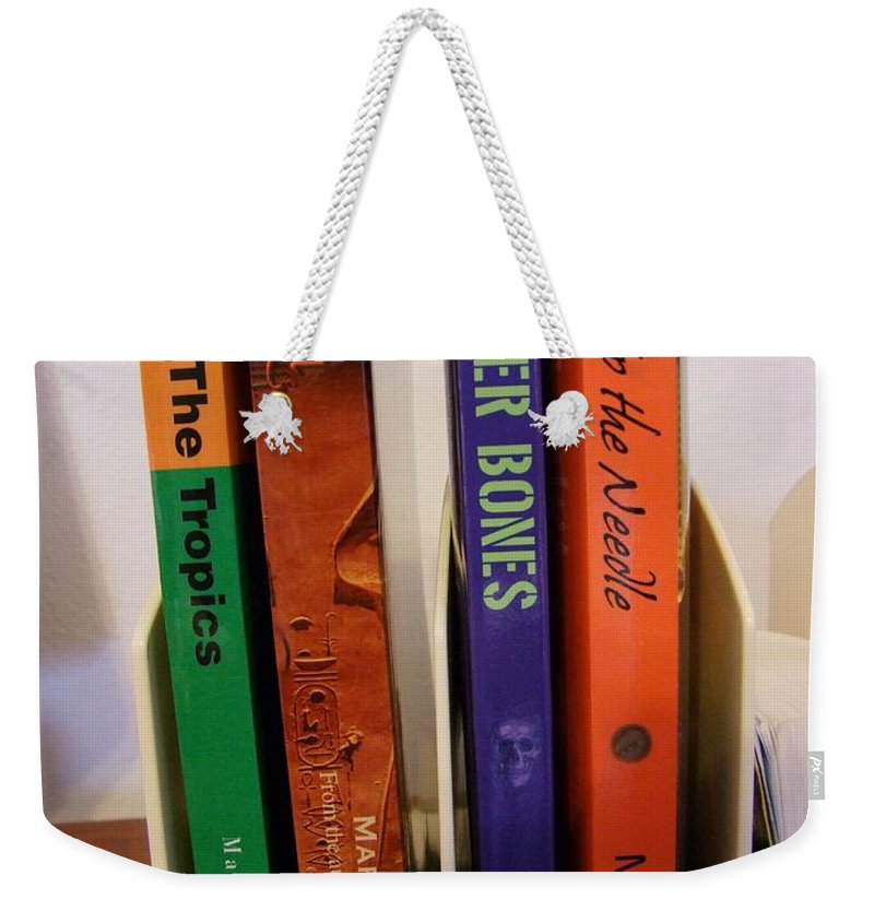 Books Weekender Tote Bag featuring the photograph Four Of My Ten Books Published by Mary Deal