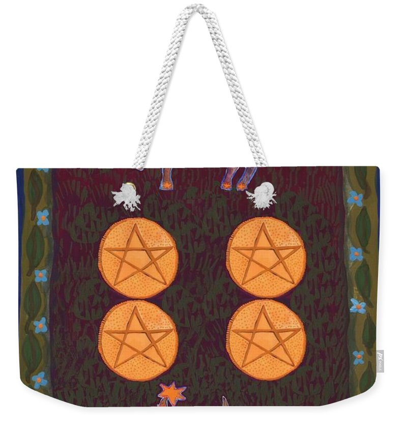 Tarot Weekender Tote Bag featuring the painting Four Of Pentacles by Sushila Burgess