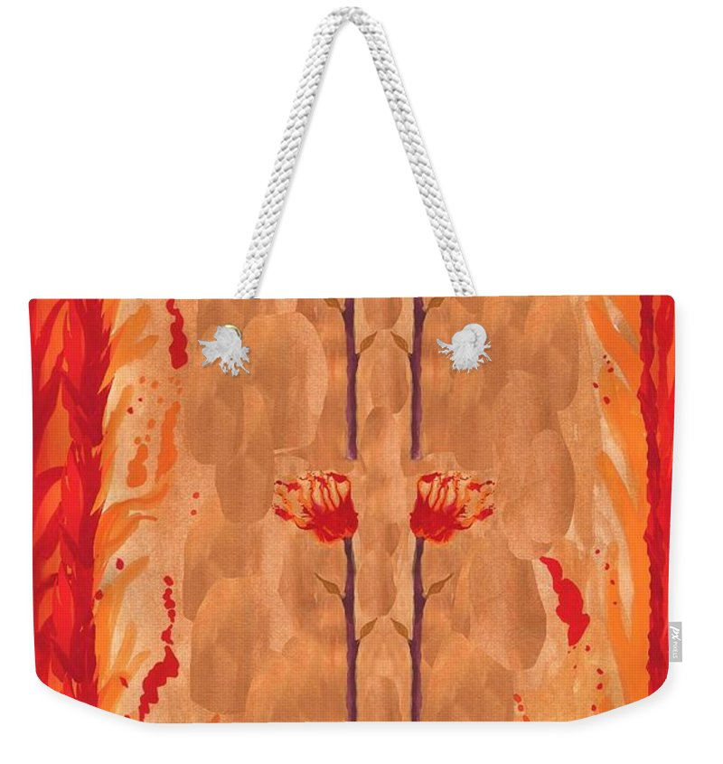 Tarot Weekender Tote Bag featuring the painting Four Of Wands by Sushila Burgess
