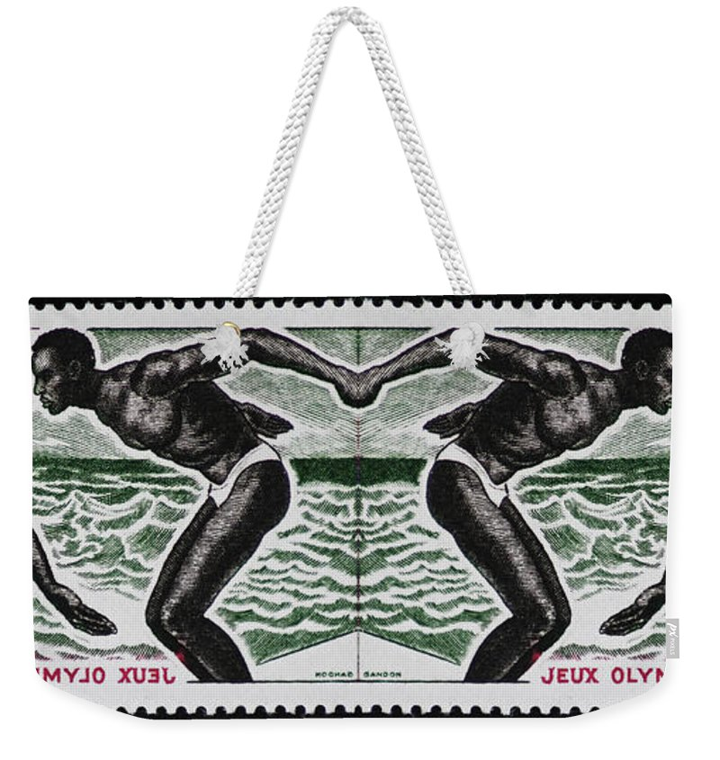 Olympic Weekender Tote Bag featuring the photograph Four Olympic Swimmers 1964 Photomontage by Andy Prendy