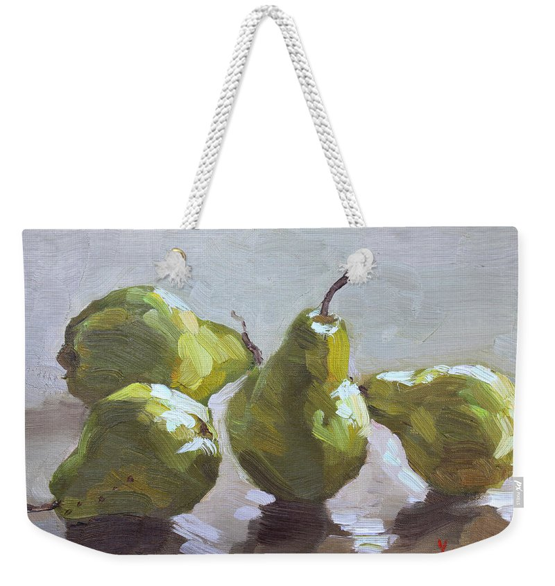 Pears Weekender Tote Bag featuring the painting Four Pears by Ylli Haruni