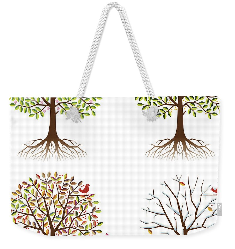 Environmental Conservation Weekender Tote Bag featuring the digital art Four Seasons In One Tree by Johnwoodcock