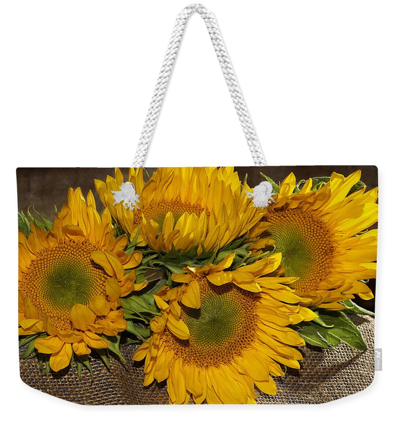 Sunflower Weekender Tote Bag featuring the photograph Four Sunflowers by Phyllis Denton