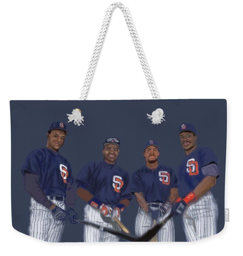 San Diego Weekender Tote Bag featuring the digital art Four Tops by Jeremy Nash