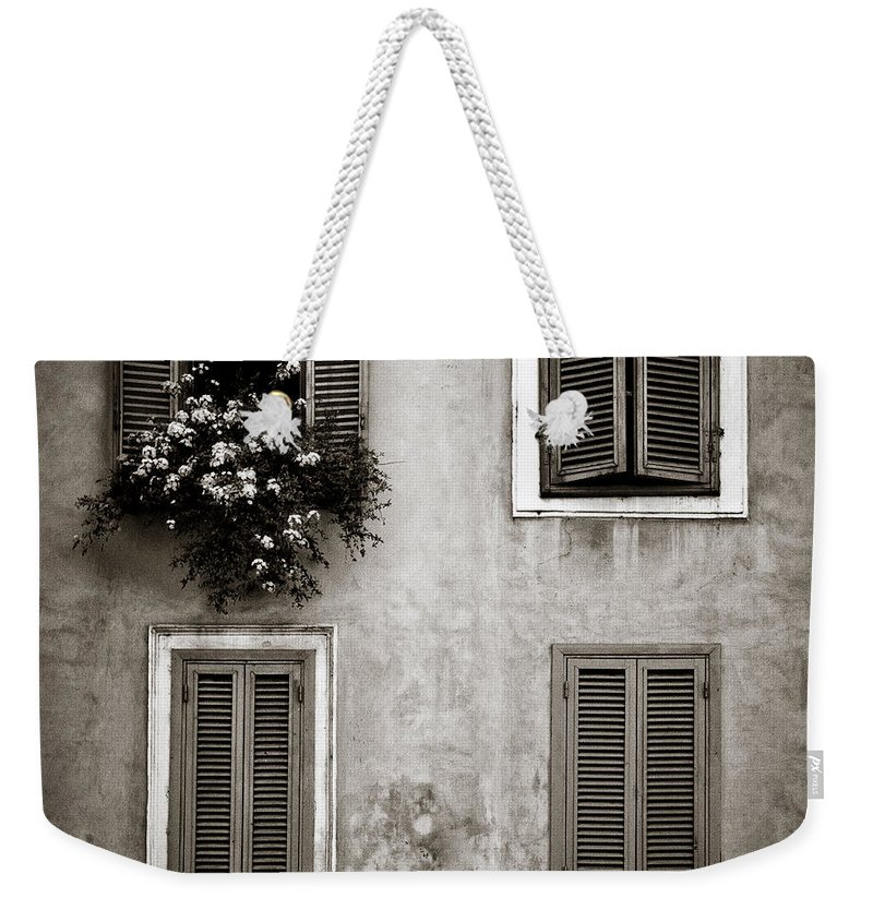 Rome Weekender Tote Bag featuring the photograph Four Windows by Dave Bowman
