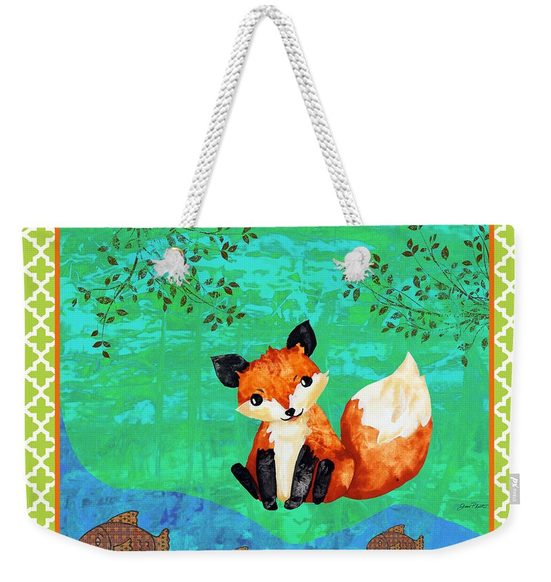 Water Color Weekender Tote Bag featuring the painting Fox-c by Jean Plout
