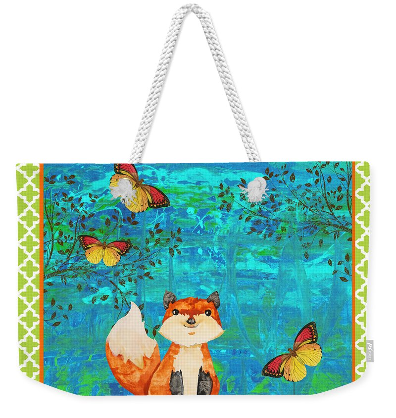 Water Color Weekender Tote Bag featuring the painting Fox-e by Jean Plout