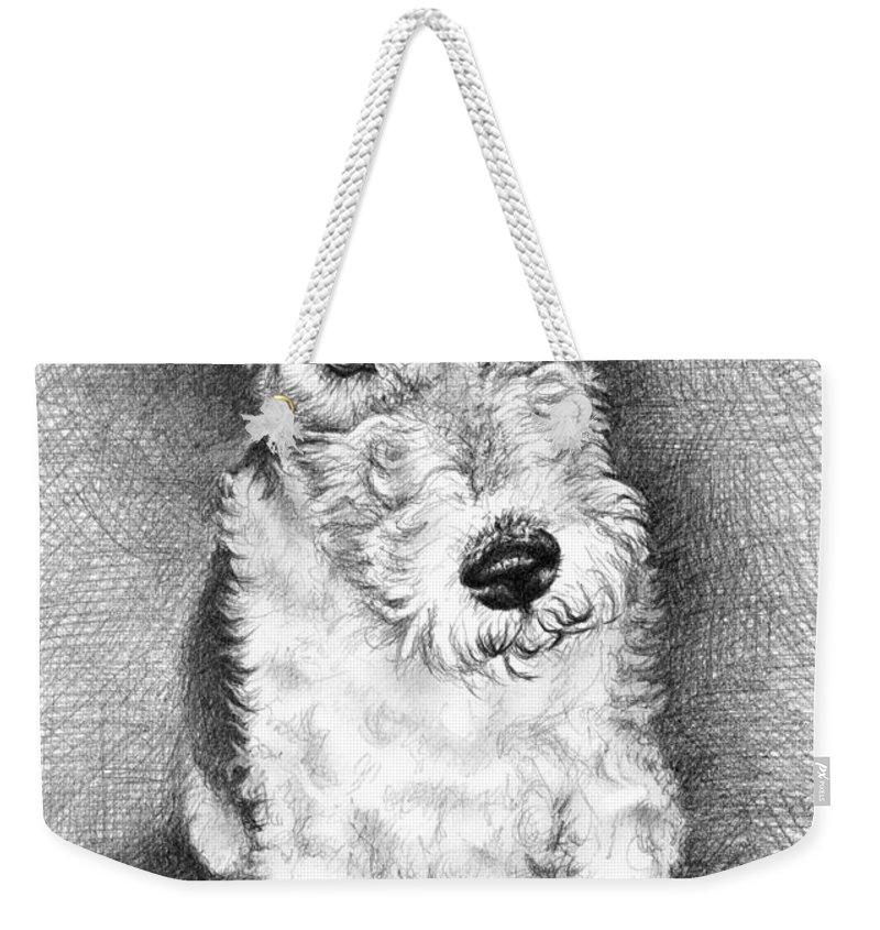 Dog Weekender Tote Bag featuring the drawing Foxterrier by Nicole Zeug