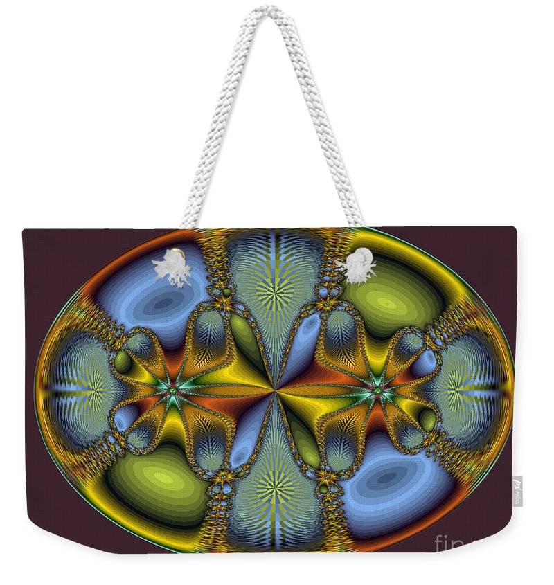 Oval Weekender Tote Bag featuring the photograph Fractal Art Egg by Darleen Stry