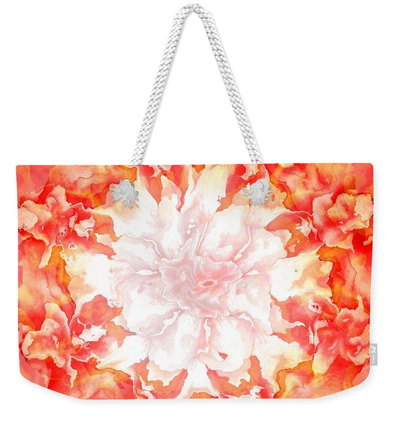 Fractal Art Weekender Tote Bag featuring the digital art Fractal Carnation by Elizabeth McTaggart
