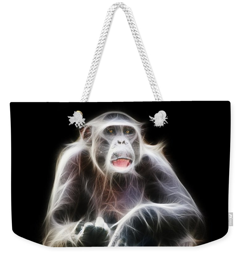 Fractal Weekender Tote Bag featuring the photograph Fractal Chimp by Pati Photography