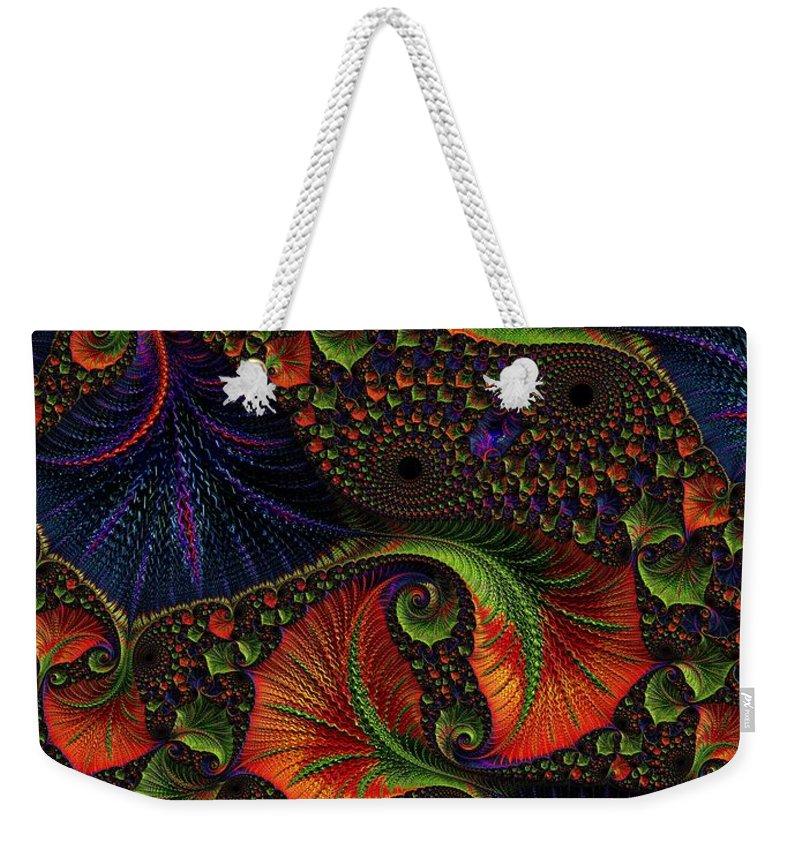 Digital Art Weekender Tote Bag featuring the digital art Fractal Embroidery by Amanda Moore