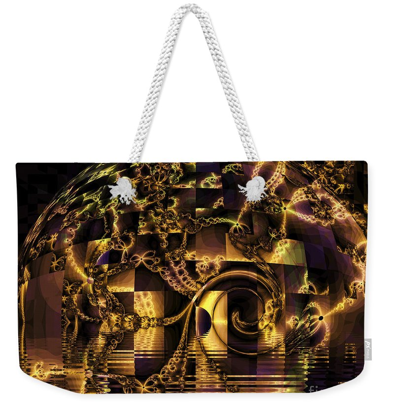 Gold Weekender Tote Bag featuring the digital art Fractal Flooding by Elizabeth McTaggart