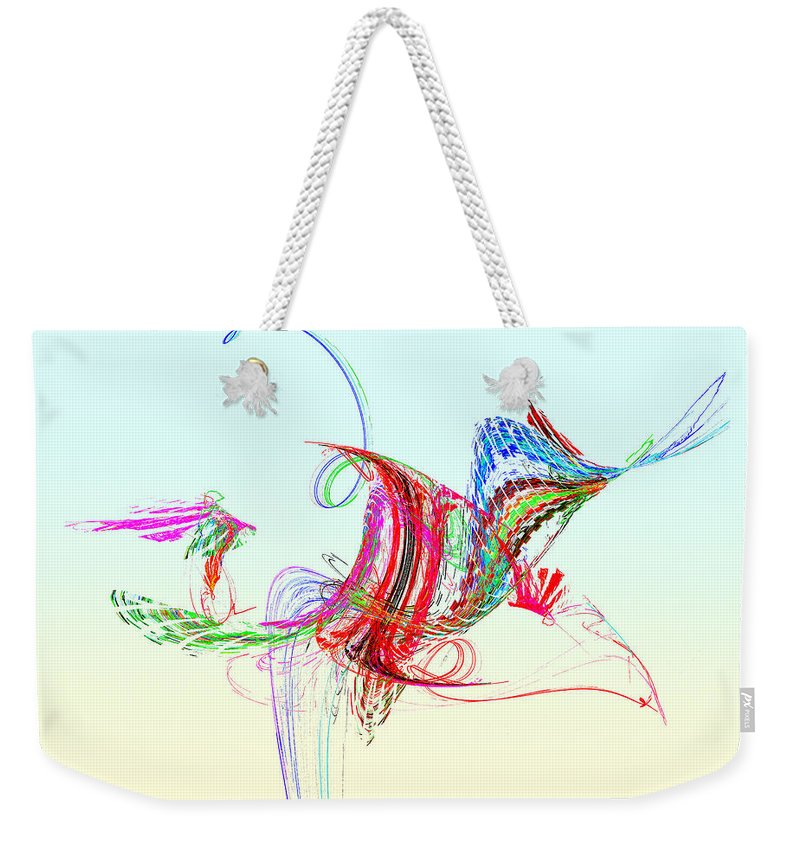 Bird Weekender Tote Bag featuring the photograph Fractal - Flying Bird by Susan Savad