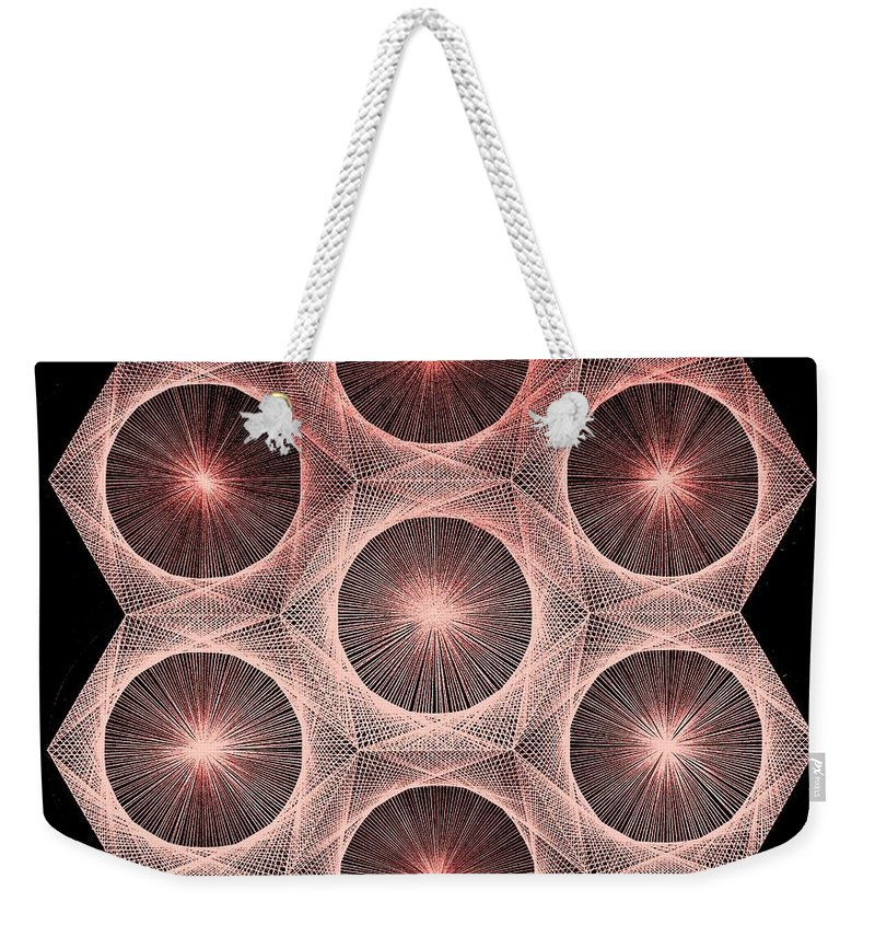 Fusion Weekender Tote Bag featuring the drawing Fractal Fusion hw Equals mc squared by Jason Padgett