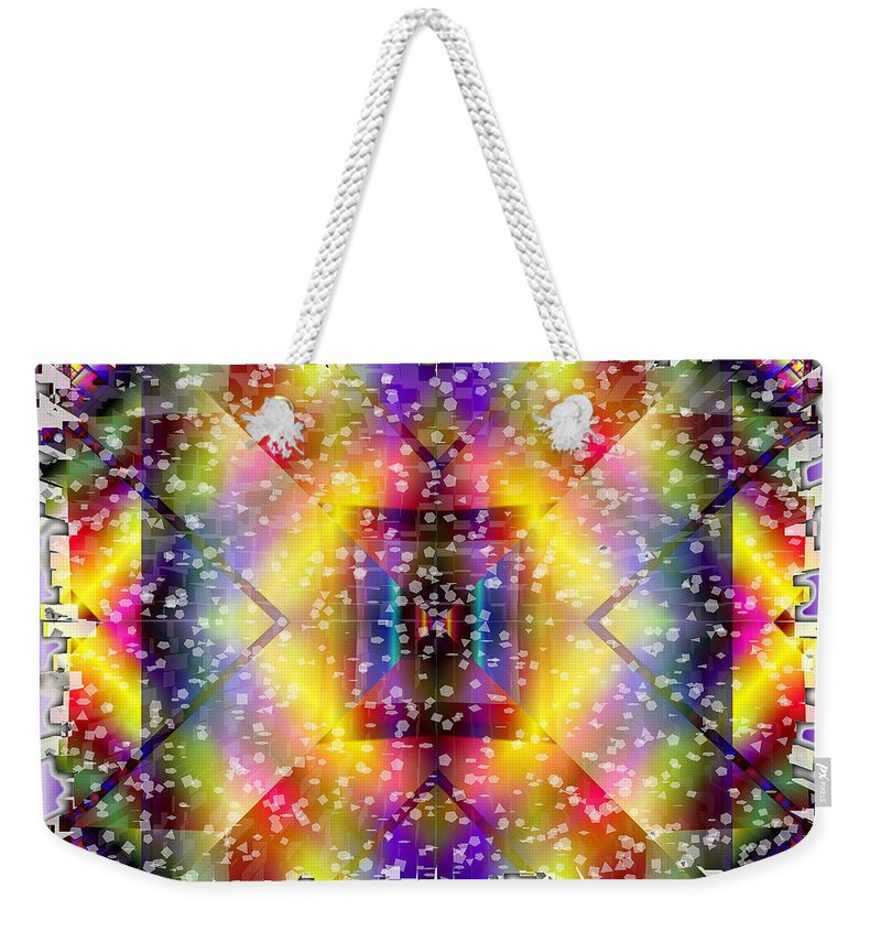 Fractal Art Weekender Tote Bag featuring the digital art Fractal Snowstorm by Mario Carini