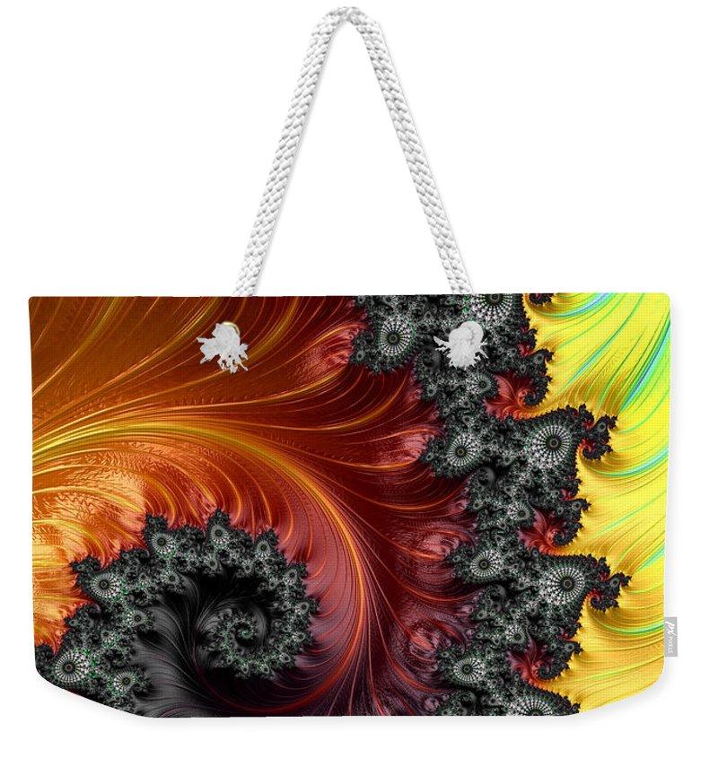 Fractal Weekender Tote Bag featuring the digital art Fractal Spiral - A Fractal Abstract by Ann Garrett