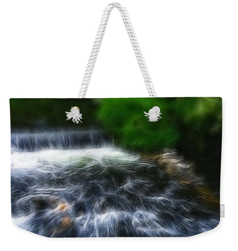 Bakewell Weekender Tote Bag featuring the photograph Fractalius - River Wye Waterfall - In Peak District - England by Doc Braham