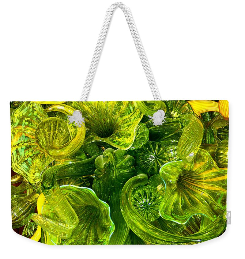 Green Weekender Tote Bag featuring the photograph Fragile Flowers Palm Springs by William Dey