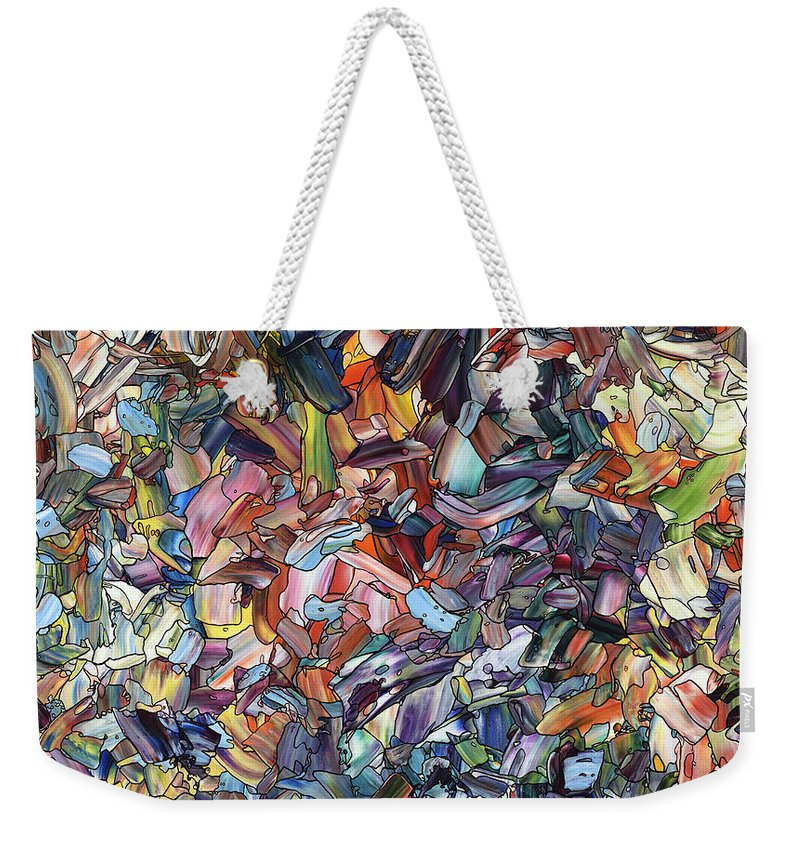 Abstract Weekender Tote Bag featuring the painting Fragmenting Heart by James W Johnson