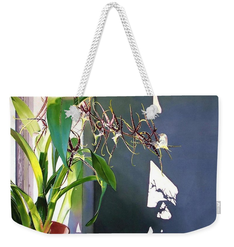Plant Weekender Tote Bag featuring the painting Frailty by Denny Bond