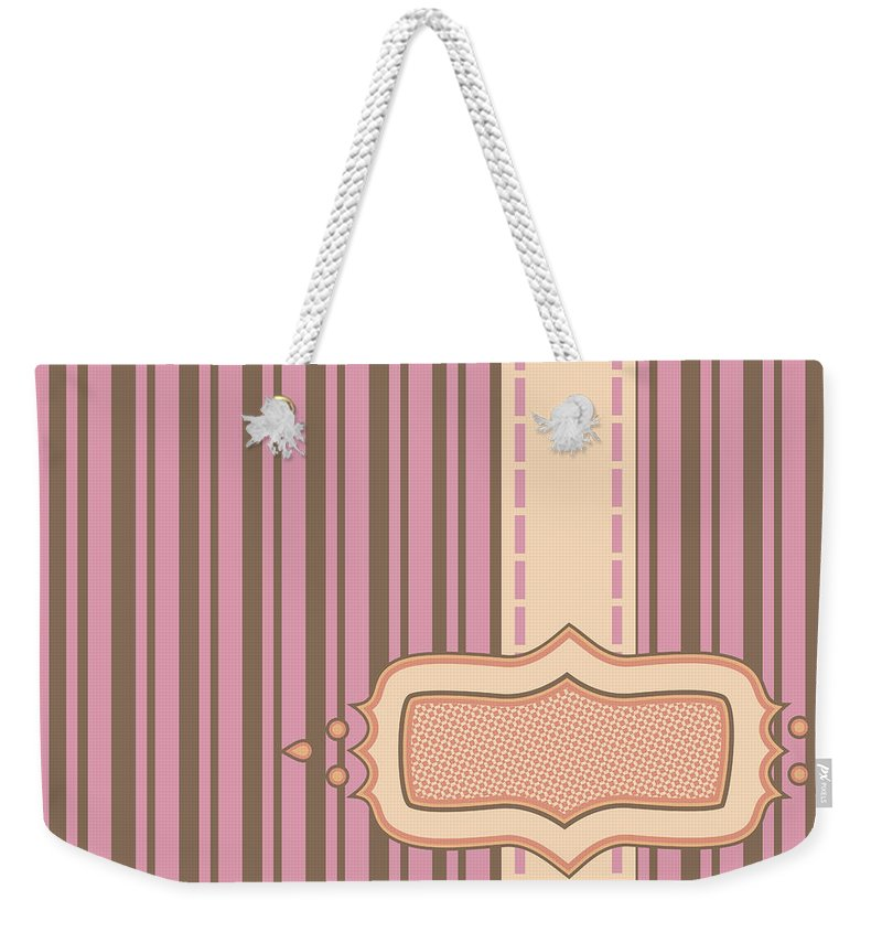 Background Weekender Tote Bag featuring the photograph Frame With Ribbon Pinstripe Vector by Tim Hester