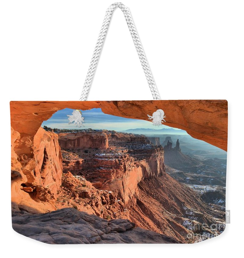Mesa Arch Sunrise Weekender Tote Bag featuring the photograph Framed Canyon by Adam Jewell