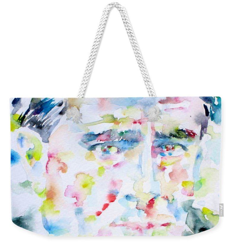Francis Weekender Tote Bag featuring the painting Francis Picabia - Watercolor Portrait by Fabrizio Cassetta