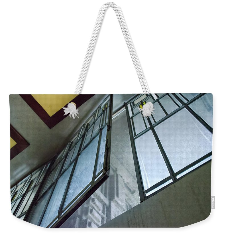 Architecture Weekender Tote Bag featuring the photograph Frank Lloyd Wright's Open Window by Jim Shackett