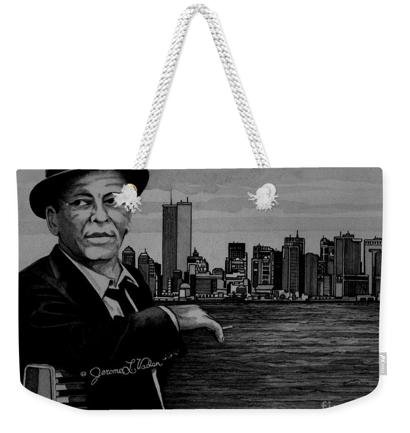 American Singer Weekender Tote Bag featuring the painting Frank Sinatra by JL Vaden