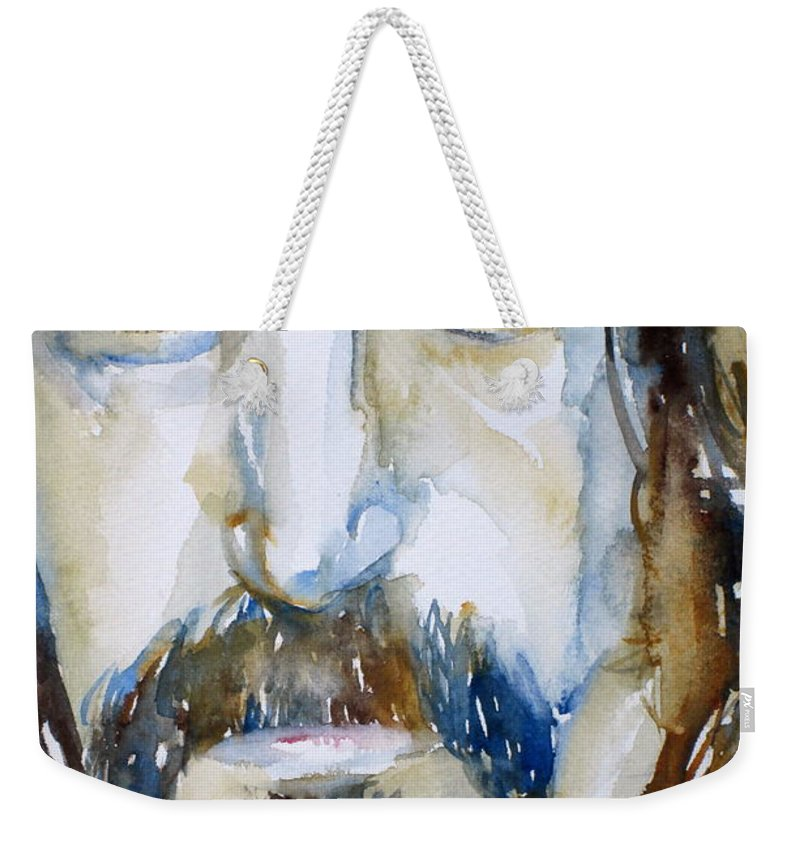 Frank Weekender Tote Bag featuring the painting Frank Zappa Watercolor Portrait.2 by Fabrizio Cassetta