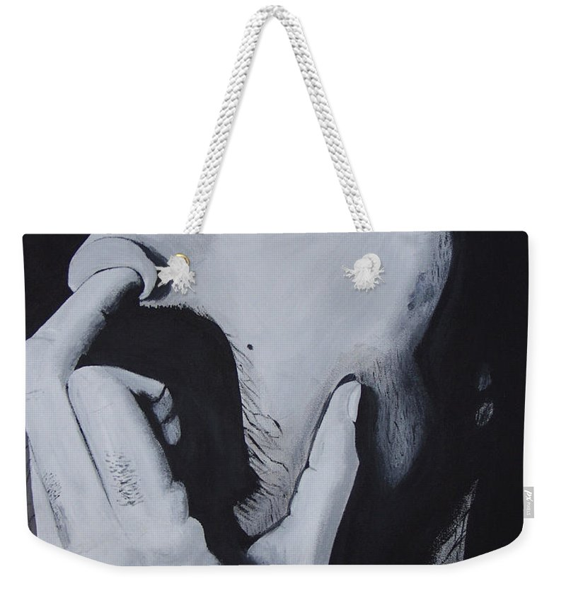 Black And White Weekender Tote Bag featuring the painting Franklyz by Dean Stephens