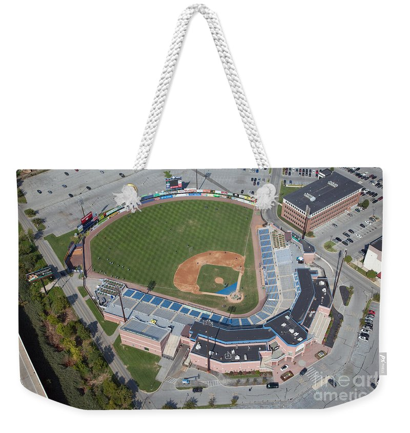 Bank Of America Weekender Tote Bag featuring the photograph Frawley Stadium by Bill Cobb