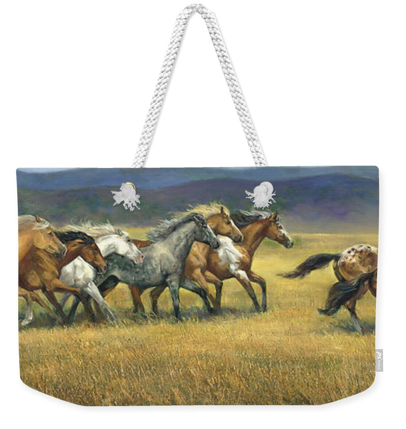 Horse Weekender Tote Bag featuring the painting Free and Wild by Laurie Snow Hein