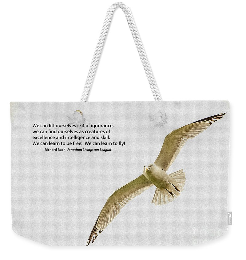 Seagull Weekender Tote Bag featuring the photograph Free Flight by Grace Grogan